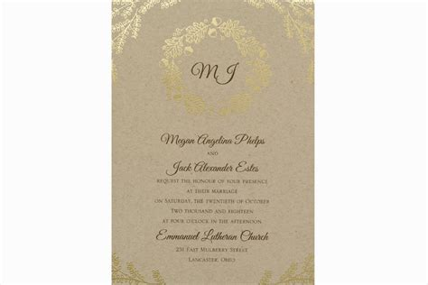 craft paper wedding invitations fall wedding invitations kraft paper gold foil wedding