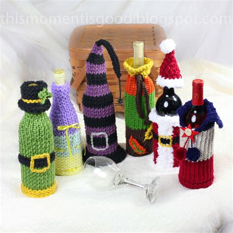 knitting pattern for wine bottle cover wine bottle covers loom knitting pattern six unique