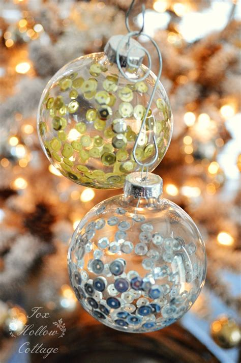 diy clear glass ornaments diy ornament craft sequins in clear glass fox