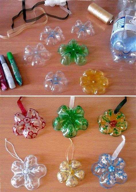 plastic decorations plastic bottles into snowflake ornaments diy cozy home
