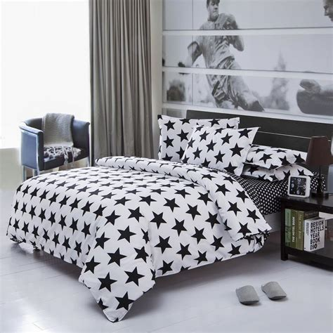 white and black bed set 3 4pcs cotton polyester black white printed bed set