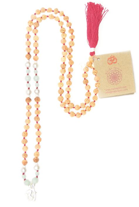 how many in a mala necklace balancing aum mala necklace of rudraksha and amazonite