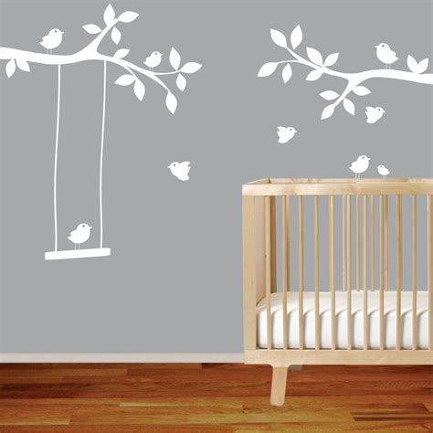 tree branch wall decal nursery nursery wall decal branch with birdsswingwhite wall decal