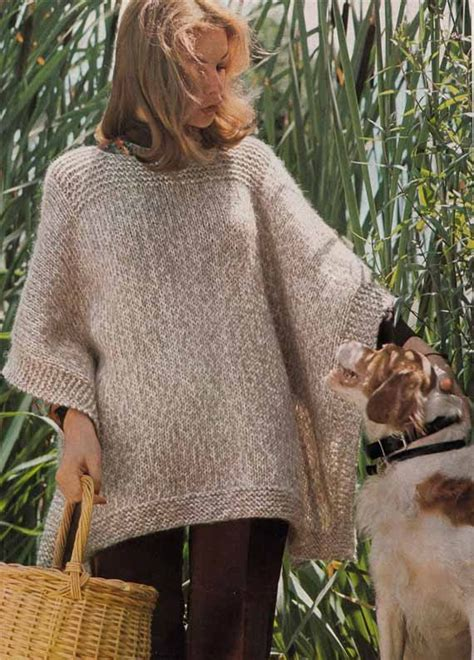 how to knit a poncho for beginners pattern instant knit poncho e pattern easy vintage