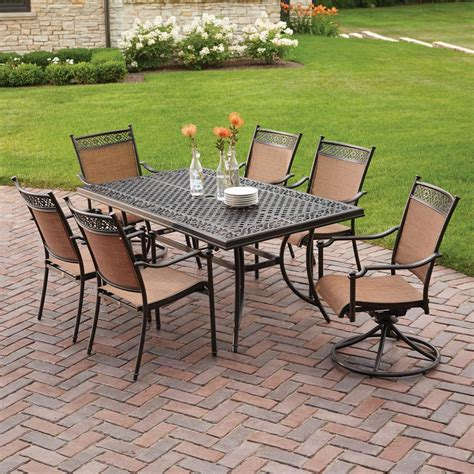 patio 7 dining set hton bay niles park 7 sling patio dining set s7