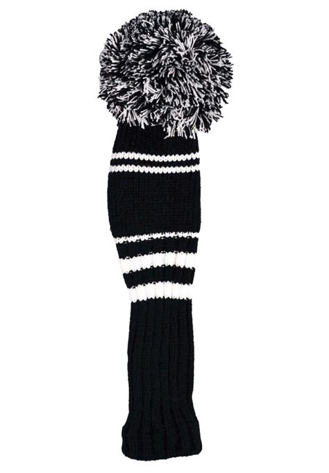 knitted golf covers uk premium knitted pom pom golf club headcovers black white