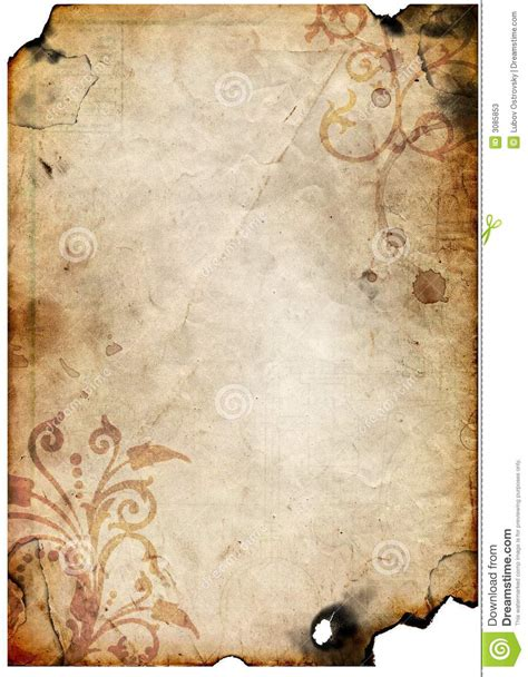 old paper with floral design stock illustration image