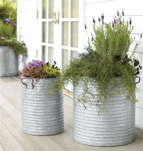 galvanized steel planters galvanized steel planter with handles traditional