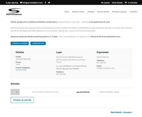 paginas de venta de entradas crear p 225 gina web de eventos con woocommerce