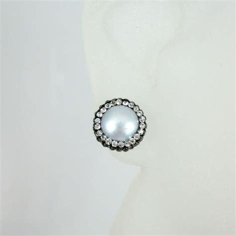 earring posts for jewelry silver freshwater pearl pave earring sterling silver