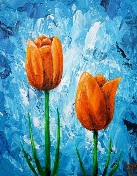 acrylic painting flowers canvas best 25 tulip painting ideas only on parrot
