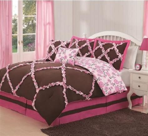 pink chocolate brown ruffled reversible floral