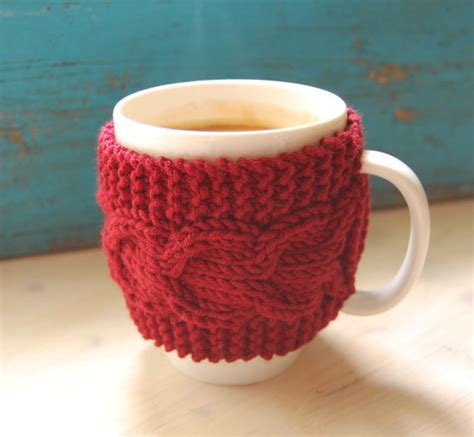 mug cosy knitting pattern knit coffee mug cozy with cable pattern from maruwool on etsy