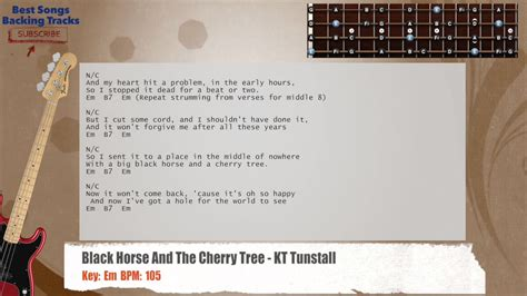black and the cherry tree kt tunstall bass backing track with chords and lyrics
