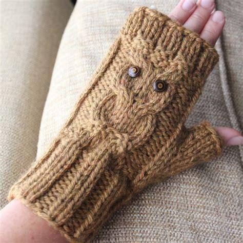 owl fingerless gloves knitting pattern brown owl fingerless gloves knit pattern knit fit