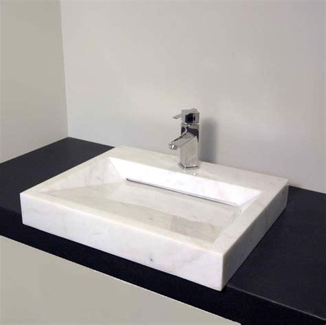 Kitchen Sinks With Backsplash square white marble veneer concrete powder room sink on