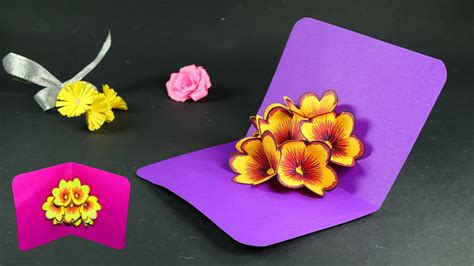 how to make a flower pop up card how to make pop up cards pop up flower card diy tutorial