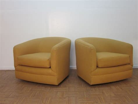 barrel swivel chairs upholstered pair of upholstered barrel back swivel chairs at 1stdibs