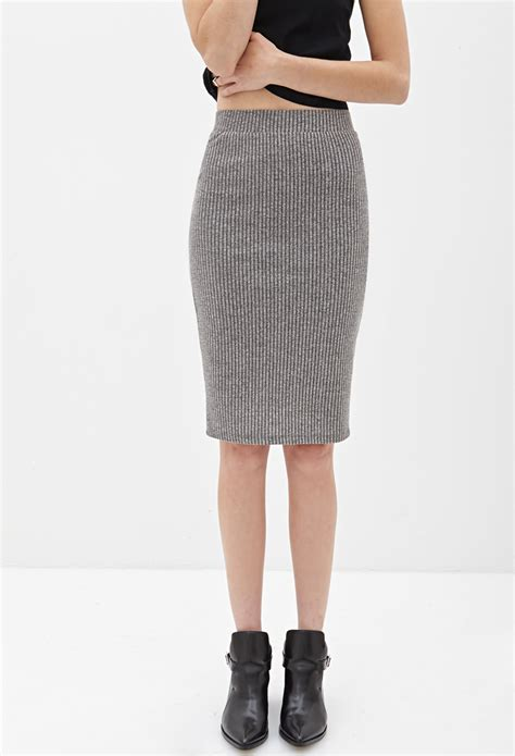grey knit skirt forever 21 ribbed knit pencil skirt in gray grey