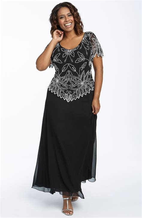 j kara beaded dress j kara beaded mock two chiffon gown in black black