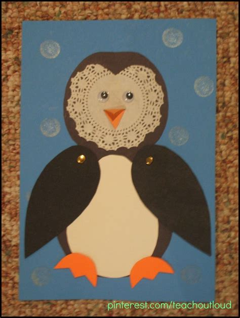 january craft ideas for doilie penguin brass fasteners used for movable wings