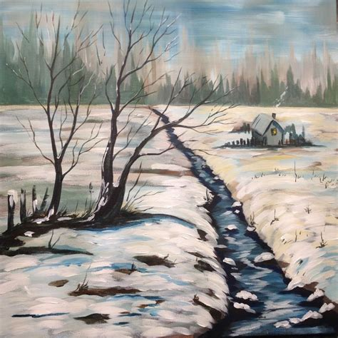real bob ross paintings for sale acrylic painting tutorial winter snow landscape big