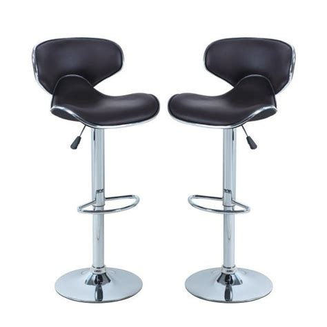 york lot de 2 tabourets de bar r 233 glables achat vente tabouret de bar marron structure en