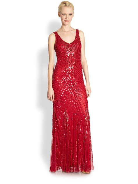 beaded gown aidan mattox sleeveless beaded evening gown in lyst