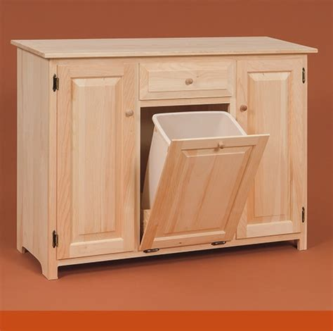 kitchen cabinet with integrated trash bin