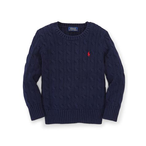 cable knit ralph sweater ralph cable knit cotton sweater in blue for lyst