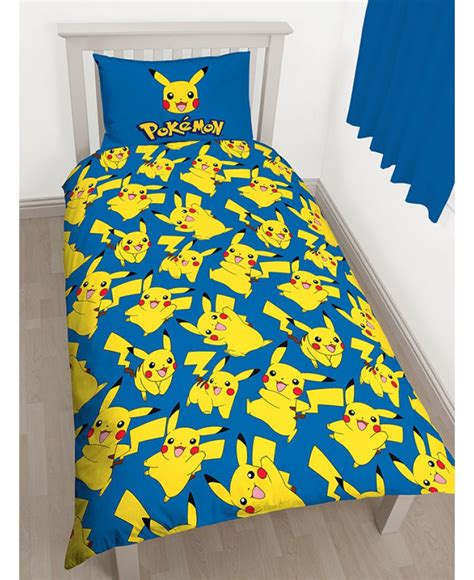 pikachu bed set pok 233 mon pikachu single duvet cover and pillowcase set