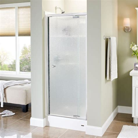 delta glass shower doors delta mandara 31 in x 66 in semi frameless pivot shower