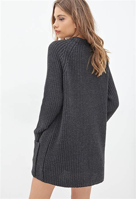 Forever 21 Waffle Knit Cardigan In Gray Lyst