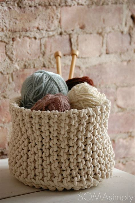 how to knit basket knitted basket large handmade