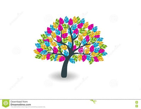 colorful tree colorful tree logo stock vector image 71494902