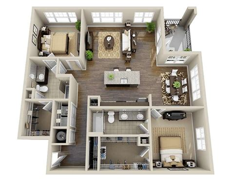 two bedroom design 10 awesome two bedroom apartment 3d floor plans