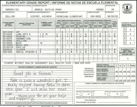 how to make a college report card elementary school report card template homeschooling
