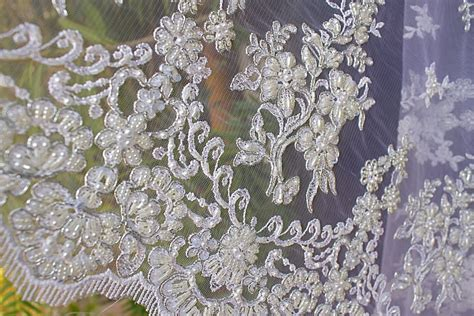 white beaded lace beaded lace white fabric beaded pearls sequin