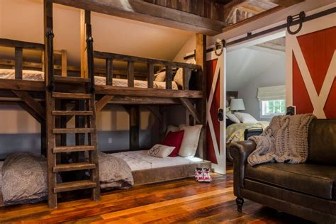 beds room rustic room with bunk beds and barn door 2015