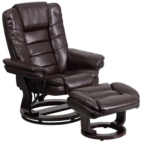 recliner with ottoman leather contemporary brown leather recliner ottoman w swiveling