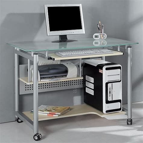 computer desk from walmart rolling computer desk glass and silver colored metal