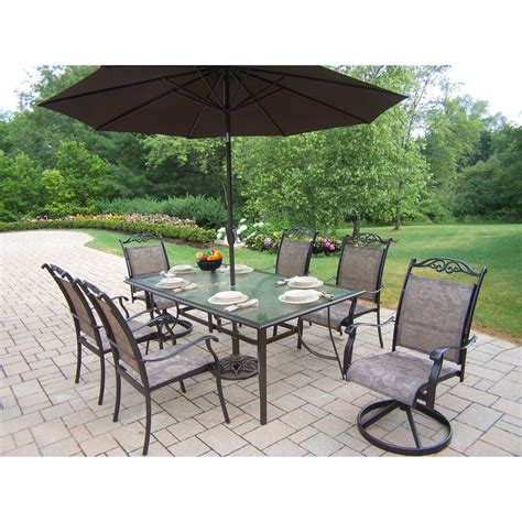 patio dining set with umbrella oakland living cascade patio dining set with umbrella and