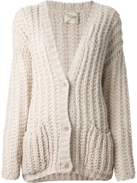 knitted cardigan chunky knit cardigan in lyst