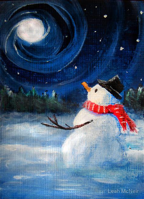 paint nite snowman quot snowman gazes at sky moon folk painting quot by