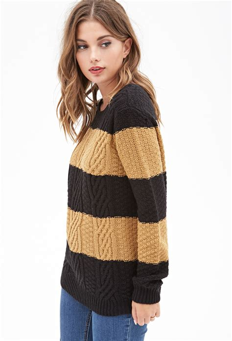 knitted sweaters forever 21 forever 21 cable knit striped sweater in black lyst