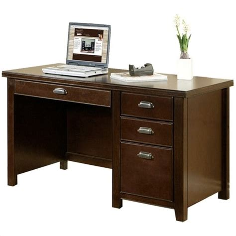 wood computer desks for home kathy ireland home by martin tribeca loft single pedestal