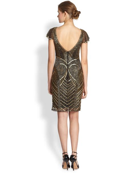 metallic beaded dress theia metallic beaded cocktail dress in metallic lyst