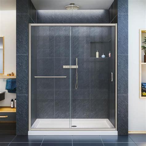 sliding glass shower doors lowes shop dreamline infinity z 56 in to 60 in w x 72 in h
