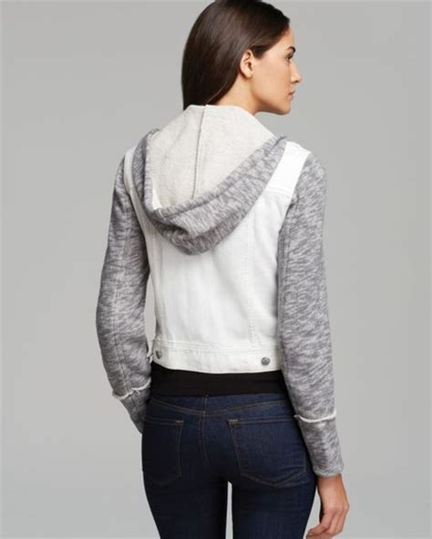 denim and knit jacket free jacket denim and knit hooded in white ivory