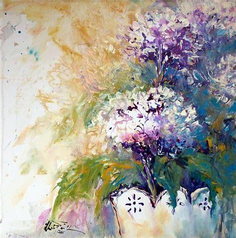 acrylic painting hydrangeas hydrangeas painting by christa friedl